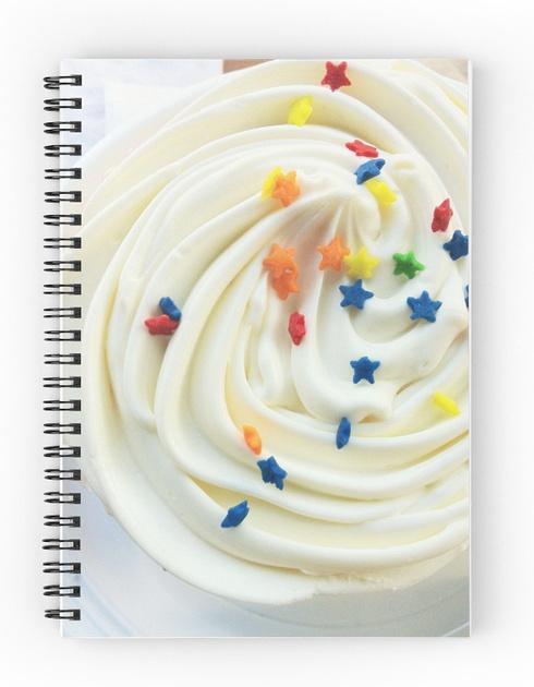 notebook, spiral notebook, cupcake, notepad