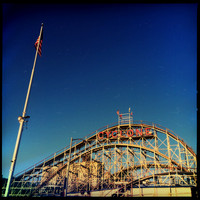 Cyclone roller coaster in Coney Island Brooklyn. Rights Managed, Stock Photo.