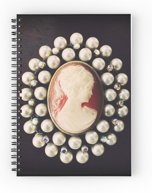 sketchbook, notebook, cameo, vintage, pearls, art book,